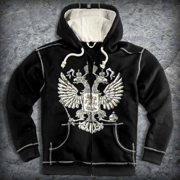Толстовка «Россия. Герб», Цвет Черный, Размер S от Земля воинов