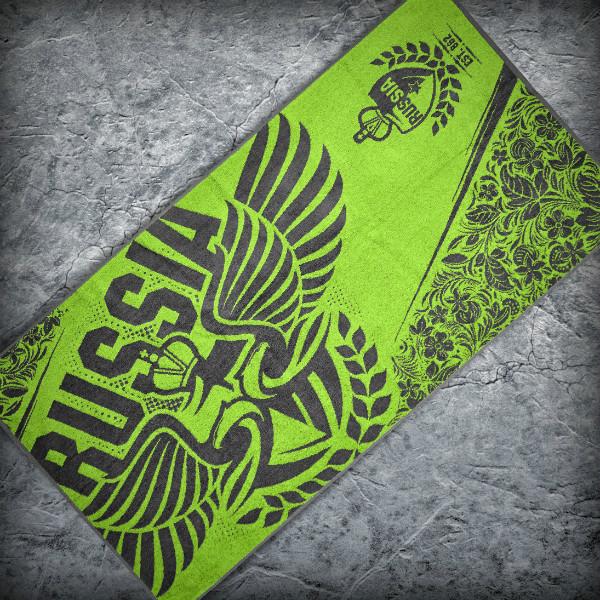 Полотенце «RUSSIA», Цвет Ярко-зеленый от Земля воинов