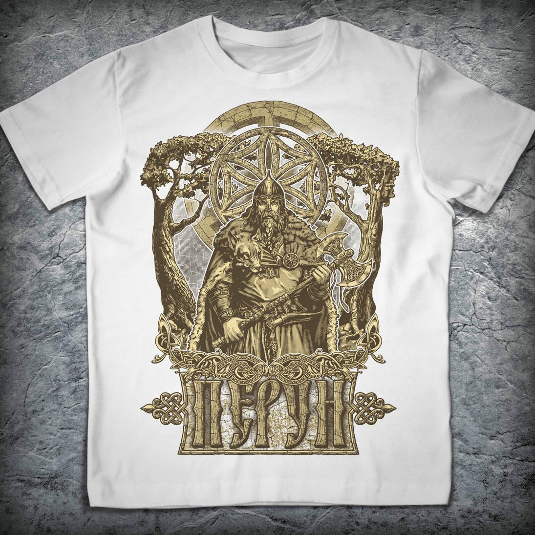 Футболка «Перун», Цвет Белый, Размер MПервая футболка из серии &amp;laquo;Славянский Пантеон&amp;raquo;, посвященная теме древних языческих богов.<br>Ткань футболки высочайшего качества, очень приятна к телу. Она почти не теряет своей формы и не садится на протяжении долгих лет регулярной носки. Нанесение рисунка на ощупь почти не чувствуется, не стирается и не выгорает. Со временем он не теряет своей яркости.<br><br>Цвет: Белый<br>Размер INT: M