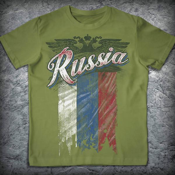 Патриотическая футболка «Россия. Ветхий стяг», Цвет Тёмный хаки, Размер M